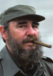 Portrait of Cuban President Fidel Castro smoking a cigar. Havana, Cuba 4/1984 (Image # 1188 )
