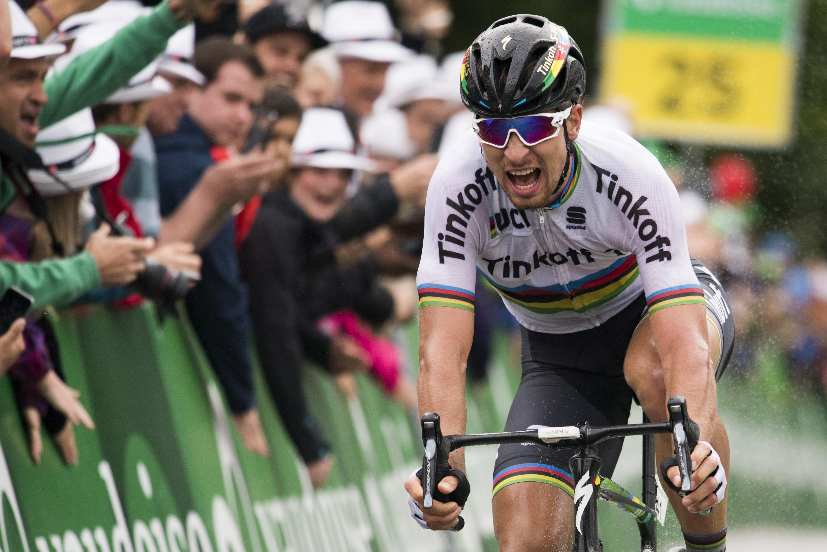 WA 25 Rheinfelden - Slovenský cyklista Peter Sagan v službách tímu Tinkoff víazí v 3. etape 80. roèníka pretekov Okolo Švajèiarska, ktorá viedla z Grosswangenu do Rheinfeldenu v pondelok 13. júna 2016. Sagan si pripísal v pretekoch druhé etapové víazstvo. Úradujúci svetový šampión sa vïaka bonifikácii za víazstvo vyšvihol do èela priebežnej klasifikácie. FOTO TASR /AP Peter Sagan from Slovakia of team Tinkoff wins the 3rd stage, a 192,6 km race from Grosswangen to Rheinfelden, Switzerland, at the Tour de Suisse UCI ProTour cycling race, in Rheinfelden, Switzerland on Monday, June 13, 2016. (Gian Ehrenzeller/Keystone via AP)