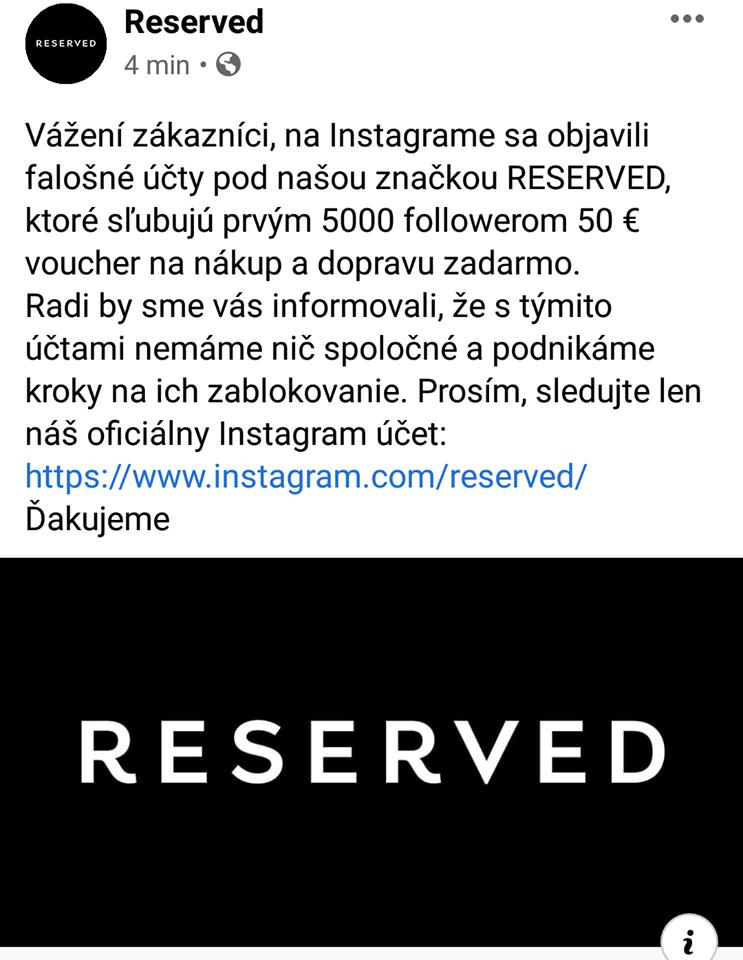 Oficiálne vyjadrenie značky Reserved